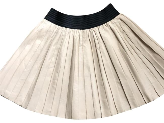Item - Beige W Black Elastic Band Leather Skirt Size 0 (XS, 25)