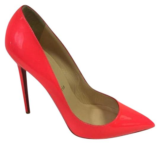 Christian Louboutin Stiletto Pointed Toe Patent Neon Pink Pumps