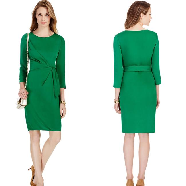 Item - Green Zoe Faux Wrap Mid-length Cocktail Dress Size 6 (S)