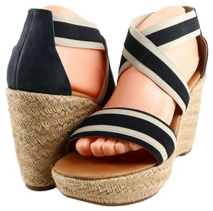 Paul Green Comfortable Casual Wedge Espadrille Blue Cream Sandals