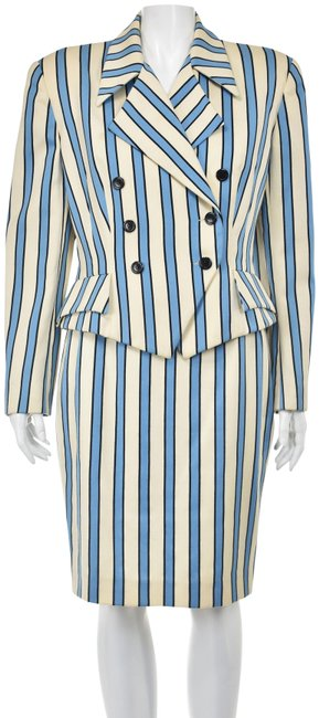 Item - Blue Ivory Rene De Remonville French Double-breasted Skirt Suit Size 10 (M)
