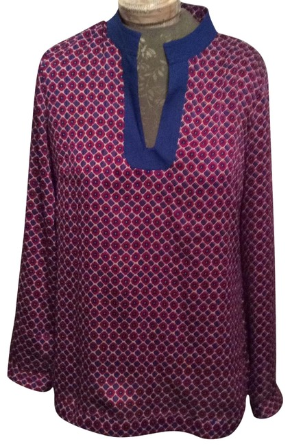 Item - Blue Maroon & Beige Blouse Ca#17897 Tunic Size 10 (M)