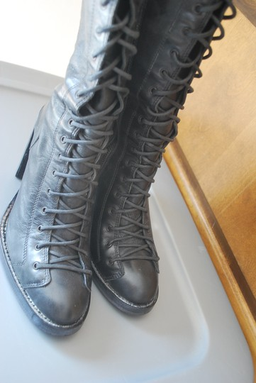 Ann Demeulemeester Combat Black Leather Boots