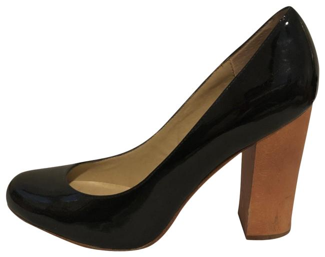 Item - Black Patent Leather with Wood Heel Pumps Size US 9.5 Regular (M, B)
