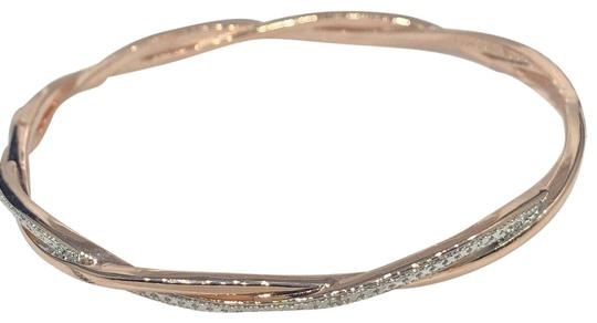 Preload https://img-static.tradesy.com/item/27321988/rose-gold-diamond-18k-and-rhodium-plated-silver-accent-twist-bangle-nwb-bracelet-0-1-540-540.jpg