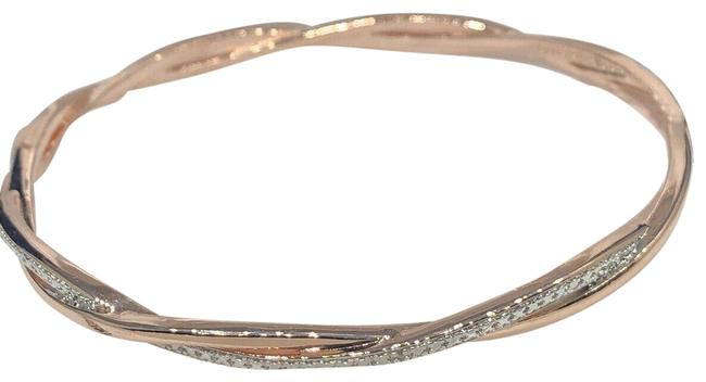 Unbranded Rose Gold Diamond Twist 18k & Rhodium-plated Silver Accent Bangle Nwb Bracelet Unbranded Rose Gold Diamond Twist 18k & Rhodium-plated Silver Accent Bangle Nwb Bracelet Image 1