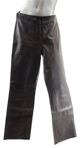 Alan Bilzerian Leather Straight Pants Dark Brown