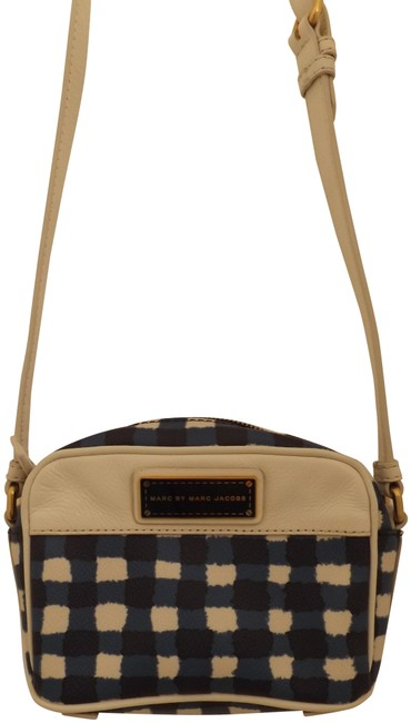 Item - Cute White and Blue Canvas Cross Body Bag