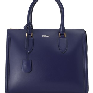 Alexander McQueen Res0eaqto002 Vintage Leather Tote in Blue