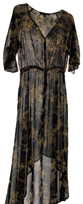 Item - Black & Gold And Yellow Print Mid-length Night Out Dress Size 10 (M)