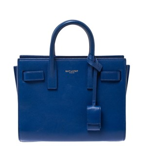 Saint Laurent Suede Leather Tote in Blue