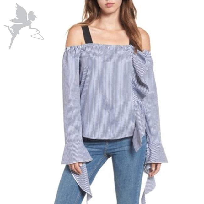 Preload https://img-static.tradesy.com/item/27323103/leith-blue-and-white-off-the-shoulder-grosgrain-ribbon-ruffle-blouse-size-4-s-0-0-650-650.jpg