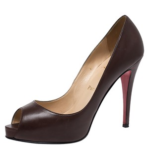 Christian Louboutin Leather Peep Toe Brown Pumps