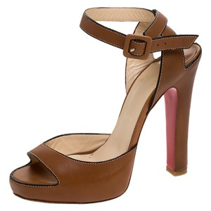 Christian Louboutin Leather Ankle Strap Platform Brown Sandals