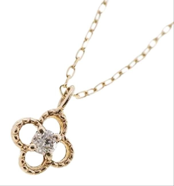 Unbranded Yellow Gold Clover Motif Natural Diamond K10yg Single Diamond Necklace Unbranded Yellow Gold Clover Motif Natural Diamond K10yg Single Diamond Necklace Image 1