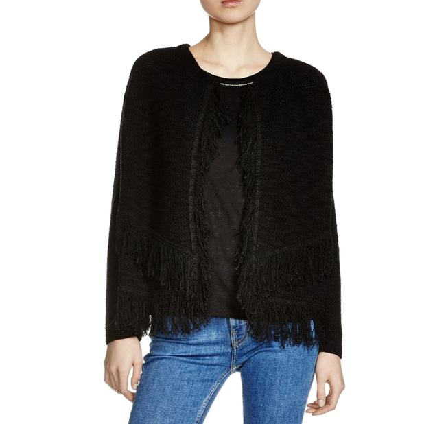 Maje Maldives Fringe Cardigan Black Sweater Maje Maldives Fringe Cardigan Black Sweater Image 1