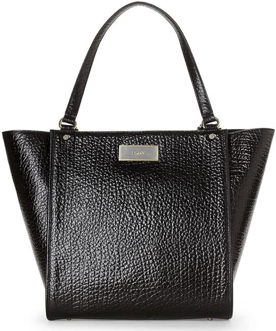 DKNY Genuine French Grain Handbag Medium Black Leather Tote DKNY Genuine French Grain Handbag Medium Black Leather Tote Image 1