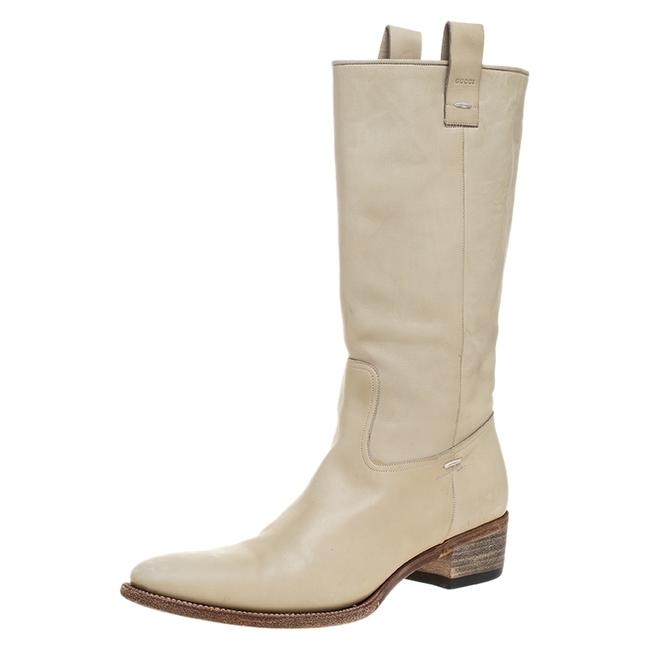 Gucci White Off-white Leather Mid Calf Round Boots/Booties Size US 9.5 Regular (M, B) Gucci White Off-white Leather Mid Calf Round Boots/Booties Size US 9.5 Regular (M, B) Image 1