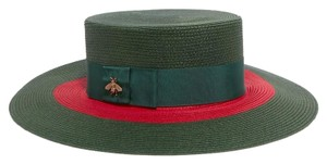 Gucci Embellished grosgrain-trimmed straw hat medium