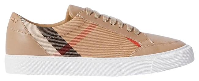 Burberry Leather and Checked Canvas Sneakers Size EU 38 (Approx. US 8) Regular (M, B) Burberry Leather and Checked Canvas Sneakers Size EU 38 (Approx. US 8) Regular (M, B) Image 1
