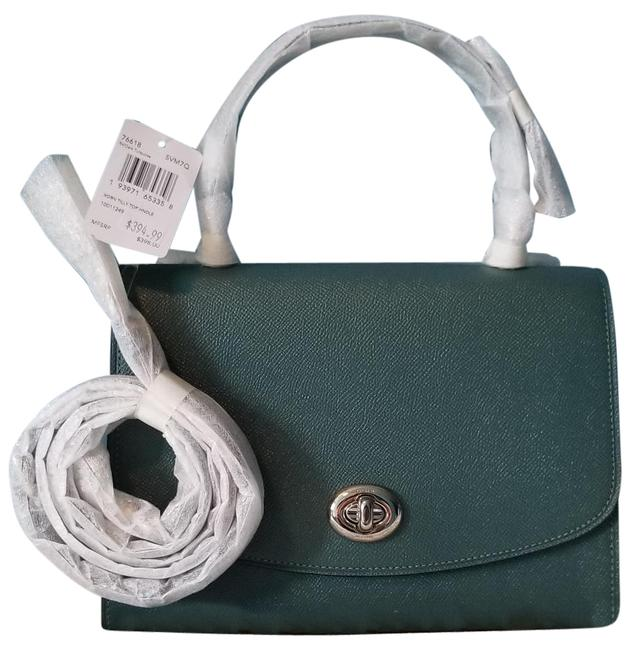 Coach Tilly Top Handle F76618 Dark Turquoise Green Leather Cross Body Bag Coach Tilly Top Handle F76618 Dark Turquoise Green Leather Cross Body Bag Image 1