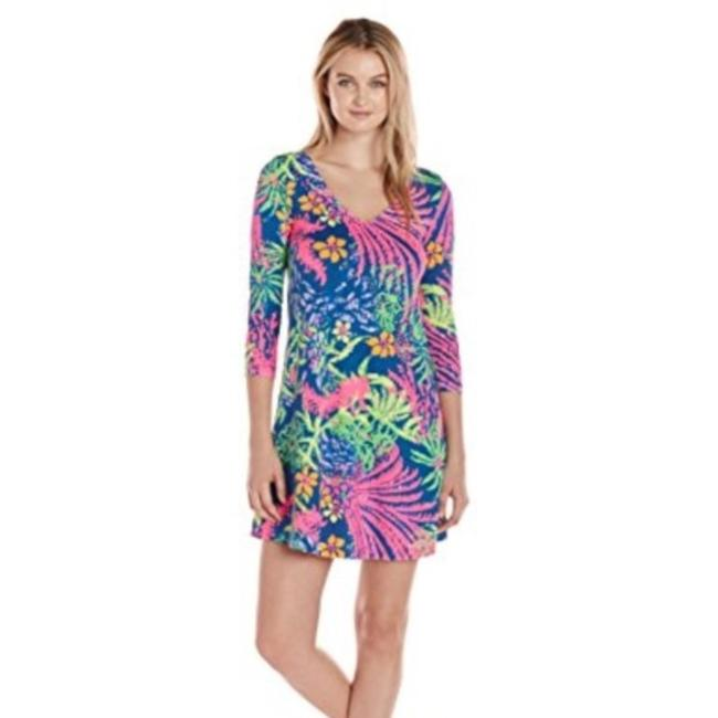 Preload https://img-static.tradesy.com/item/27324229/lilly-pulitzer-blue-and-pink-erin-pima-cotton-t-shirt-short-casual-dress-size-2-xs-0-0-650-650.jpg