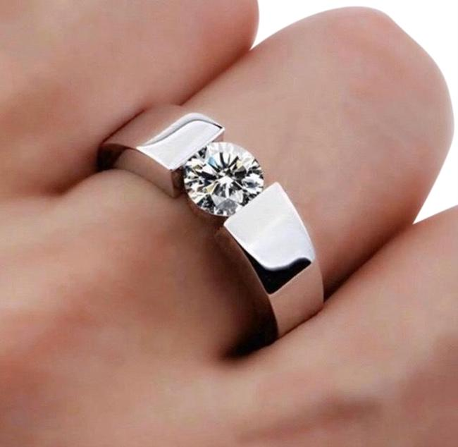 Silver Plated Solitaire Promise 1 Ctaaaaa Cz Stone 925 Sterling Engagement Wedding Band For Women Men Ring Silver Plated Solitaire Promise 1 Ctaaaaa Cz Stone 925 Sterling Engagement Wedding Band For Women Men Ring Image 1