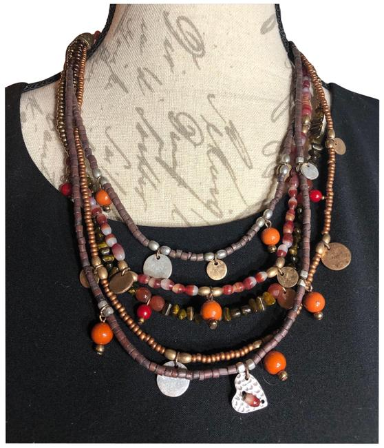 "Item - Red/Copper/Brass/Silver/Gold-tone/Orange/Brown Nwot-chico's 5-sttand 9""-11"" Multi-beaded Costume Necklace"