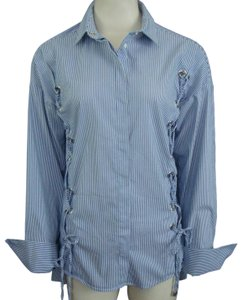 Topshop Lace-up Pinstripe French Cuffs Button Down Shirt Blue and White