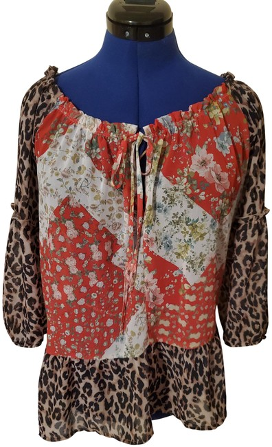 Item - Leopard and Red Print Blouse Size 12 (L)
