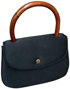 Etienne Aigner Curved Wood Handle Snap Front Closure Inside Pouch Pocket Logo Cloth Lining Tote in Black