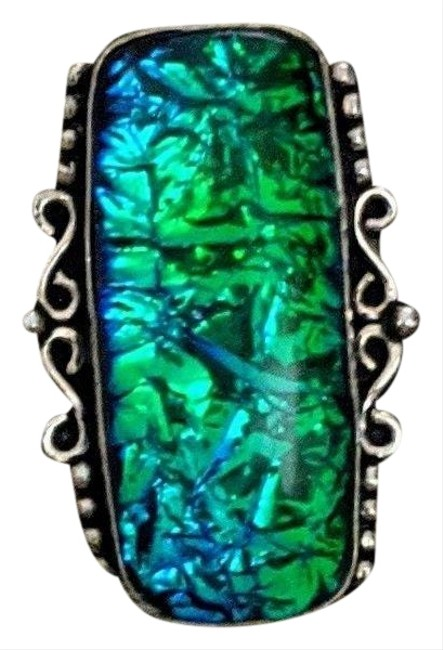 Handmade Blue/Green Sterling Dichroic Glass Ring Handmade Blue/Green Sterling Dichroic Glass Ring Image 1