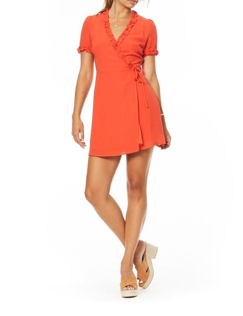 Item - Red Foxie Mini Wrap Short Casual Dress Size 4 (S)