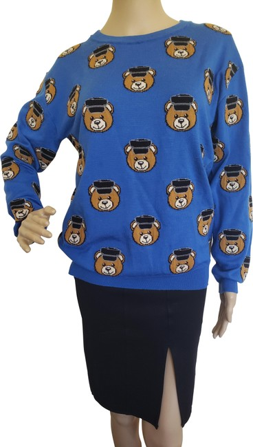 Item - Yellow Multicolor Couture Bear Print Long Sleeve Blue Sweater