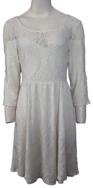 Item - Off White Lace Stretchy Lined Babydoll Short Night Out Dress Size 6 (S)