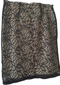 Ann Taylor Skirt Black Lace w/nude Slip Under