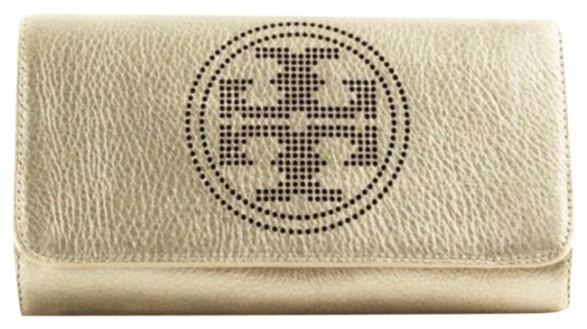 Item - Perforated Logo Clutch New Mi Muted Metallic Gold Pebbled Leather Cross Body Bag