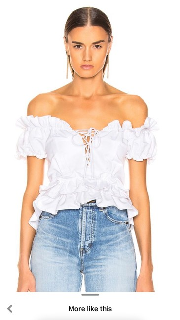 Item - White Amaya Faille Features A Cropped Length with Lace Up Necklie and Ruffle Detail. Blouse Size 12 (L)
