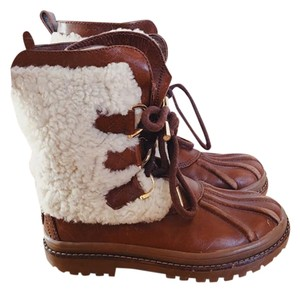 Tory Burch Leather Shearling Warm Rubber Sole Weatherproof Cream and Brown Boots