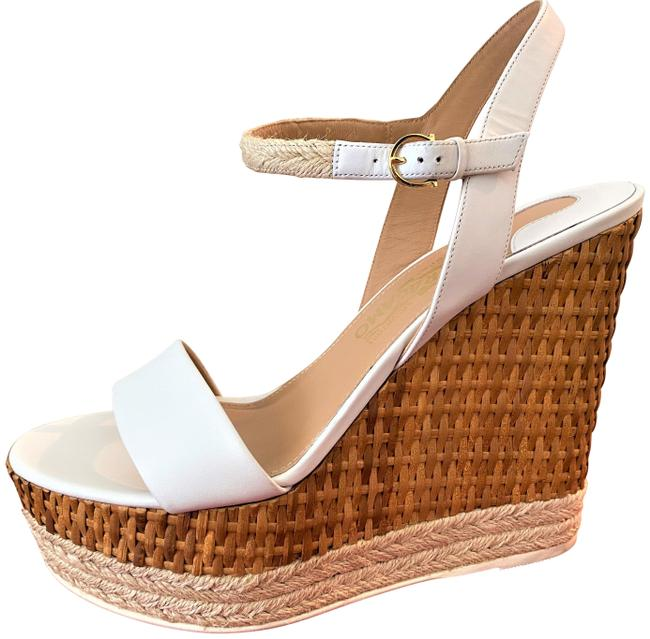 Item - White/Tan Marlene Wedges Size EU 38.5 (Approx. US 8.5) Regular (M, B)