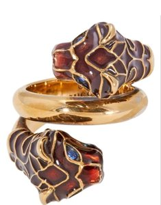Gucci GUCCI Gucci Tiger Head Ring with Enamel-Size 10