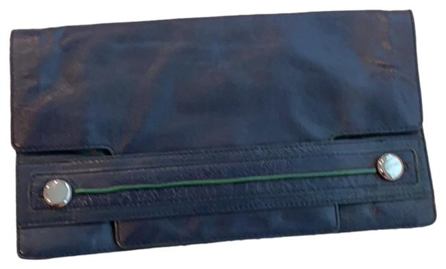 Item - Oversized 80s Navy Cowhide Leather Clutch