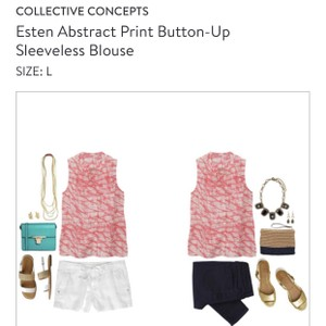 Collective Concepts Stitch Fix Summer Workwear Top Bright Pink Abstract Print