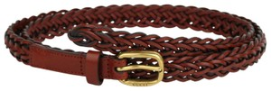 Gucci Red Braided Leather Skinny Belt w/gold Buckle 100/40 380607 7508
