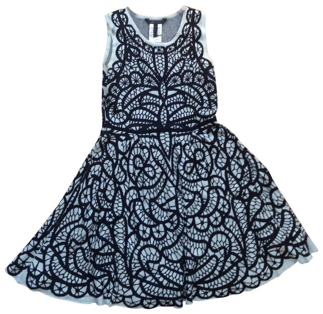 Item - Black and Cream Print Jacquard Short Work/Office Dress Size 6 (S)
