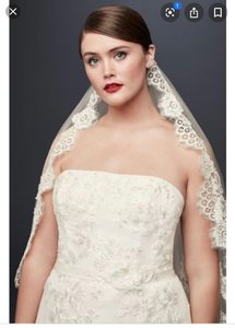 David's Bridal White Medium Mantilla Inspired Trailing Lace One Tier Bridal Veil