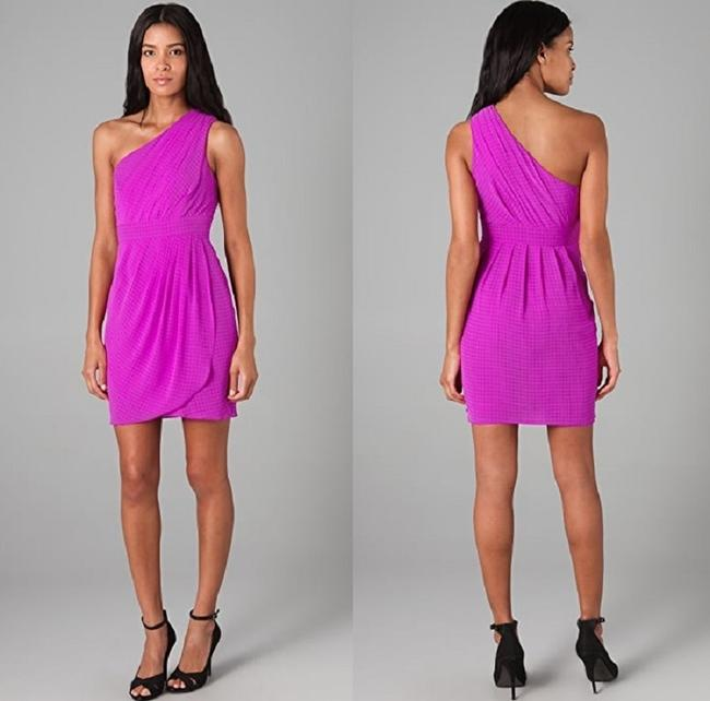 Item - Purple Chiffon Polyester Acetate Orchid Pleated One Shoulder Feminine Bridesmaid/Mob Dress Size 4 (S)