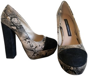 French Connection Snakeskin/Black Platforms
