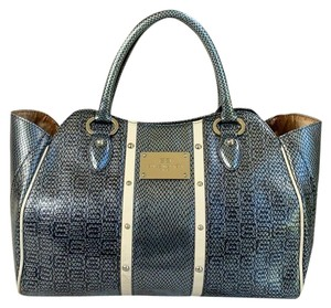 Balenciaga Bb Line Vintage Patent Leather Satchel Tote in Steel Gray