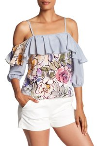 Tracy Reese Ruffle Silk Floral Top light blue, multi color